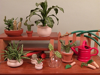 dollhouse miniature plants - Potting Table