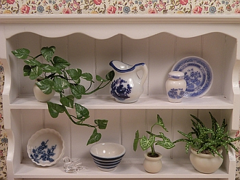 dollhouse miniature plants - White shelf